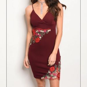 Dresses & Skirts - Burgundy Floral Patch Dress